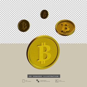 3d render ilustração de queda de bitcoins dourados
