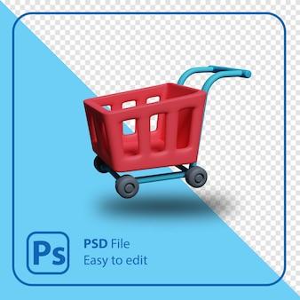 3d render ilustração do carrinho de compras isolada