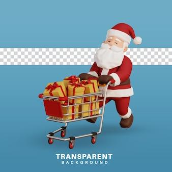 3d render ilustração do conceito de natal papai noel com gráfico de compras