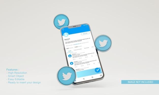 3d render ilustração do twitter maquete de telefone móvel