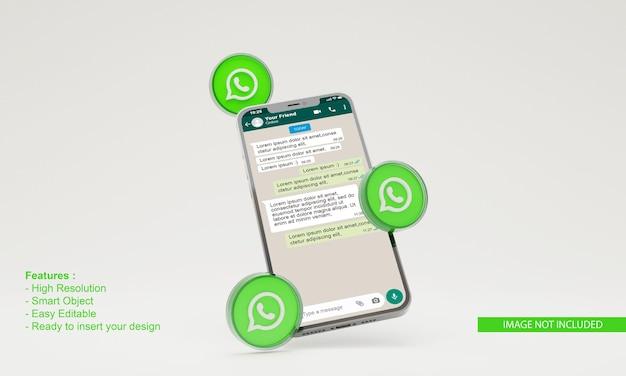 3d render ilustração do whatsapp para maquete de telefone móvel