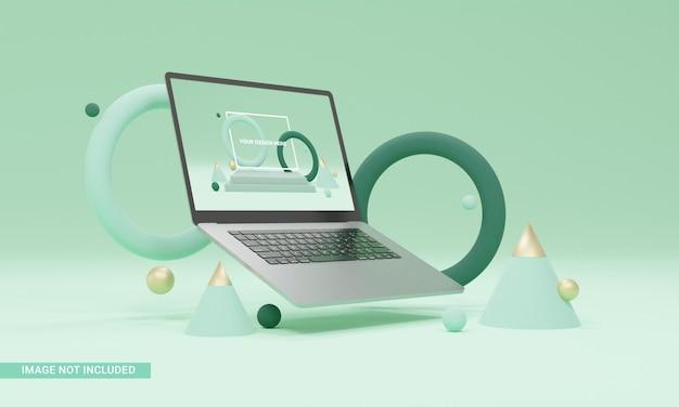 3d render ilustração formas verdes maquete de laptop isométrica