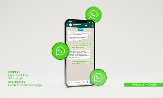 3d render ilustração ícone whatsapp maquete de telefone móvel