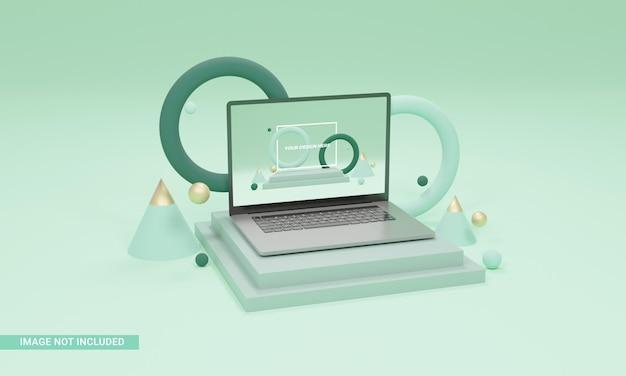 3d render ilustração laptop maquete isométrica