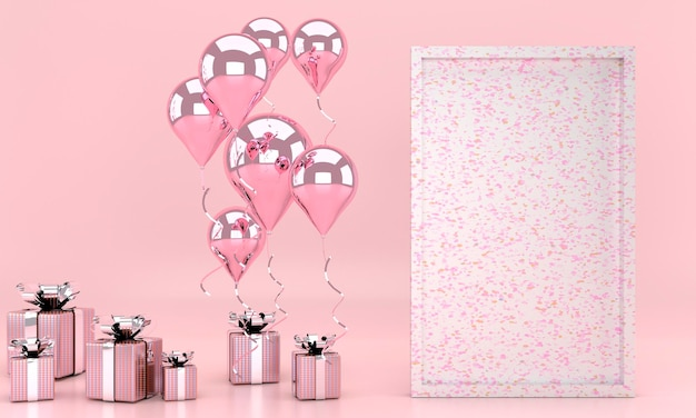 3d render interior com balões, mock up quadro de pôster, caixa de presente na sala. espaço vazio para festa, banners de mídia social de promoção, cartazes. cartão de dia dos namorados
