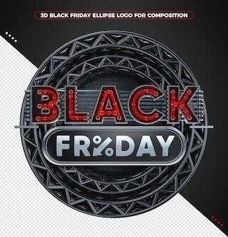 3d render logo preto sexta-feira neon vermelho