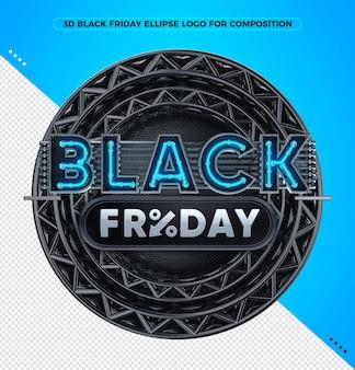 3d render logotipo preto sexta-feira neon azul