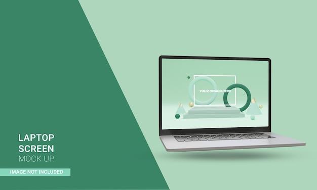 3d render maquete realista de laptop isométrico