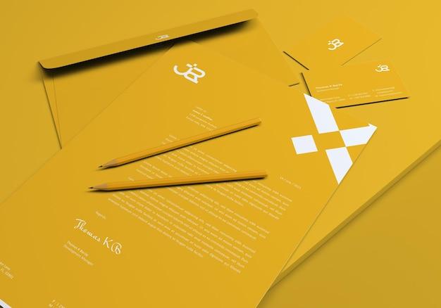 3d render minimalist stationery set mockups