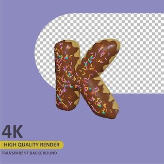 3d render modelagem de objetos donut alfabeto letra k design