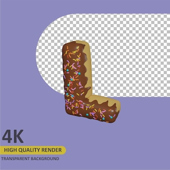 3d render modelagem de objetos donut alfabeto letra l design