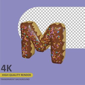 3d render modelagem de objetos donut alfabeto letra m design