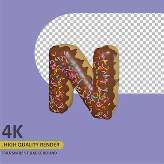 3d render modelagem de objetos donut alfabeto letra n design
