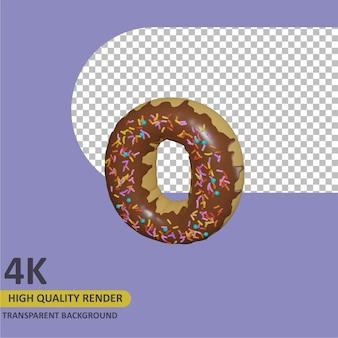 3d render modelagem de objetos donut alfabeto letra o design