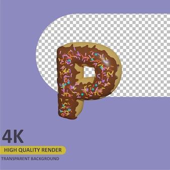 3d render modelagem de objetos donut alfabeto letra p design