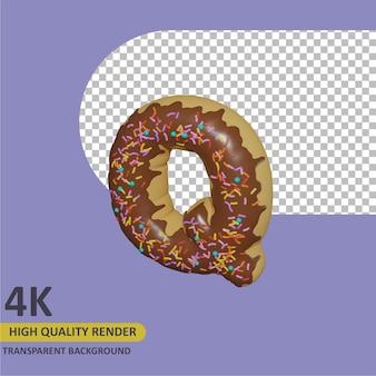 3d render modelagem de objetos donut alfabeto letra q design