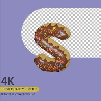 3d render modelagem de objetos donut alfabeto letra s design
