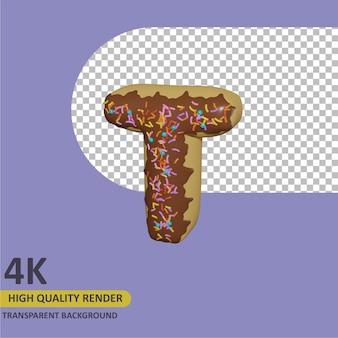 3d render modelagem de objetos donut alfabeto letra t design