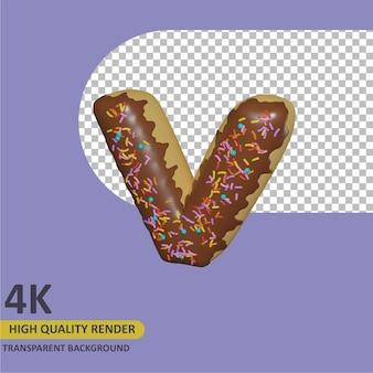 3d render modelagem de objetos donut alfabeto letra v design