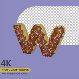 3d render modelagem de objetos donut alfabeto letra w design