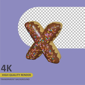 3d render modelagem de objetos donut alfabeto letra x design