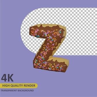 3d render modelagem de objetos donut alfabeto letra z design
