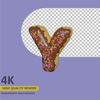 3d render modelagem de objetos donut design de letra y do alfabeto