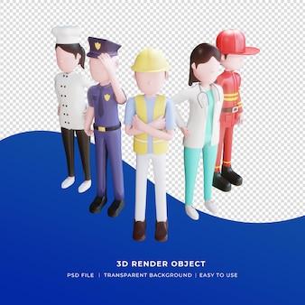 3d render, modelo de mídia social feliz dia do trabalho com ilustração de personagens 3d