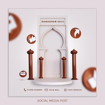 3d render modelo de postagem de mídia social banner de mídia social especial venda ramdhan