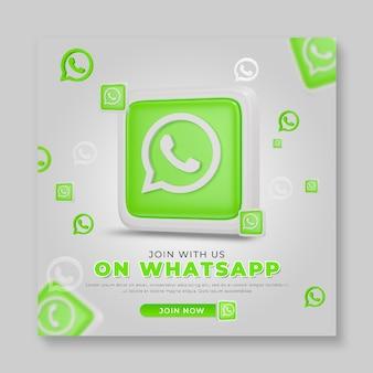 3d render modelo de postagem de mídia social whatsapp
