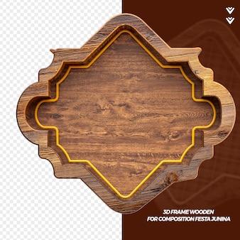 3d render moldura de madeira isolada