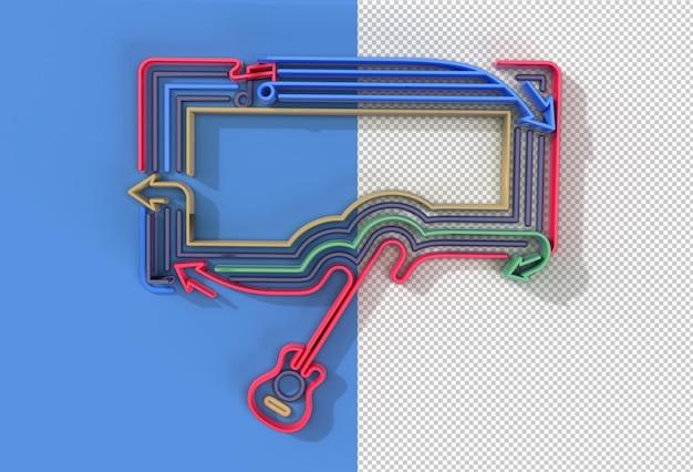 3d render music with guitar banner flyer pôster transparent psd file