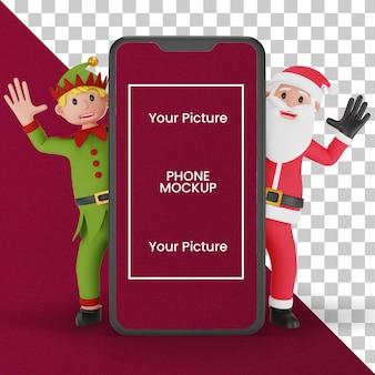 3d render papai noel e elfo atrás de uma grande maquete de smartphone