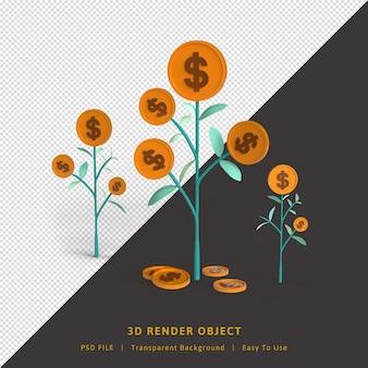 3d render para fazer negócios crescerem com plantas de moedas