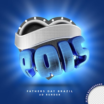3d render para o dia dos pais, composição do coração azul do brasil com banner