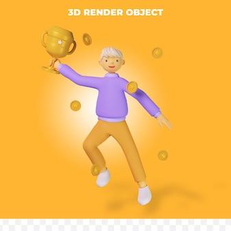 3d render personagem de desenho animado segurando troféu