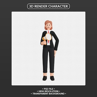 3d render personagem feminina falando no megafone