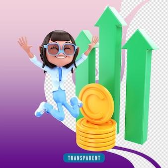 3d render personagem feminina pulando com lucro
