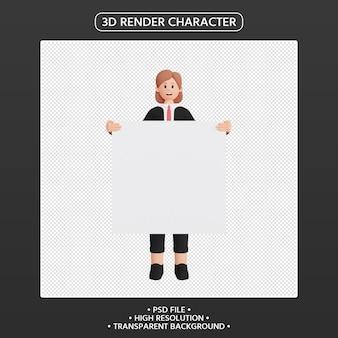 3d render personagem feminina segurando um cartaz em branco
