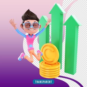 3d render personagem masculino pulando com lucro
