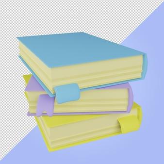 3d render pilha de ícones de educação de livros coloridos