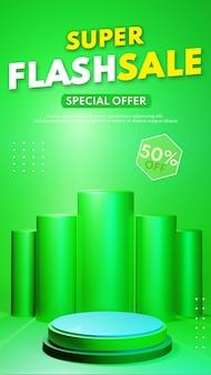3d render pódio de cilindro verde moderno para colocação de apresentação de produto