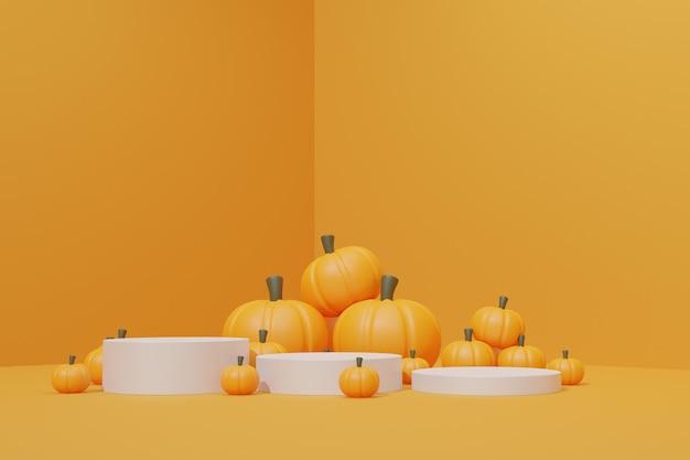 3d render pódio de halloween com abóbora