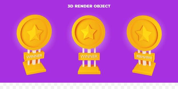 3d render prêmio de ouro
