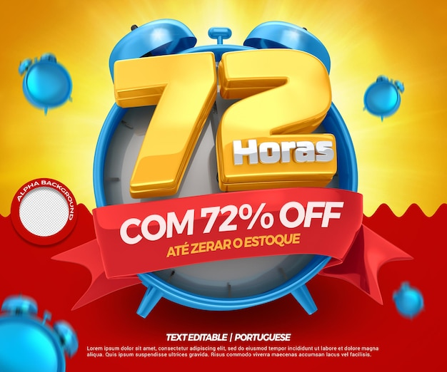 3d render promoção de 72 horas até 72 descontos para lojas em geral no brasil