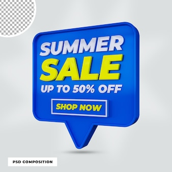 3d render promoção de desconto de venda de verão isolada