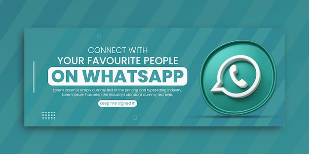 3d render promoção de negócios de whatsapp para mídia social modelo de design de capa do facebook