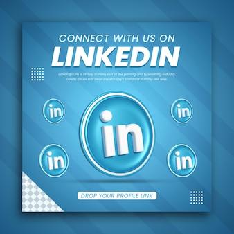 3d render promoção de negócios do linkedin para um design de postagem de mídia social