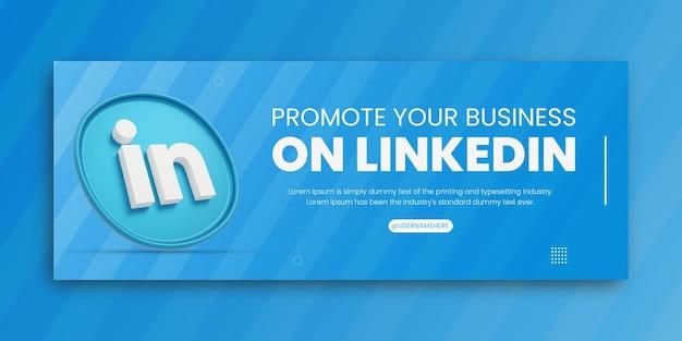 3d render promoção de negócios no linkedin para mídia social modelo de design de capa do facebook
