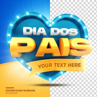 3d render promoção de venda de selo de coração dia dos pais com luzes isoladas